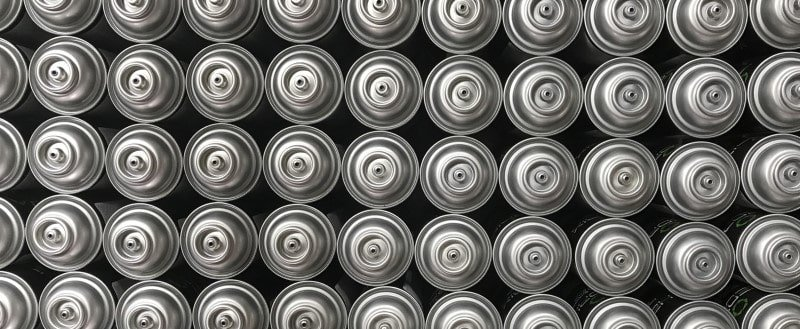 spray paint cans - top view